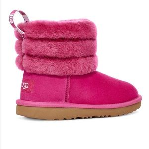 UGG Fuschia Fluff Mini Quilted Suede Boot Size 11T